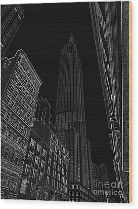 Empire Nyc White On Black Wood Print by Meandering Photography