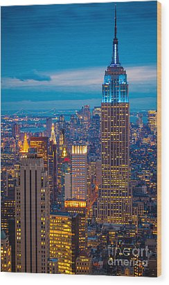 Empire State Blue Night Wood Print by Inge Johnsson