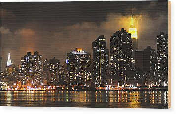 Empire State Building From Long Island City Wood Print