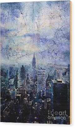 Empire State Building In Blue Wood Print