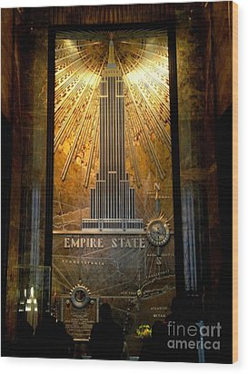 Empire State Building - Magnificent Lobby Wood Print by Miriam Danar