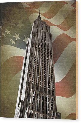 Empire State Building Wood Print by Mark Rogan