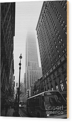 Empire State Building Shrouded In Mist And Nyc Bus Taken From 34th And Broadway Nyc New York City Wood Print by Joe Fox