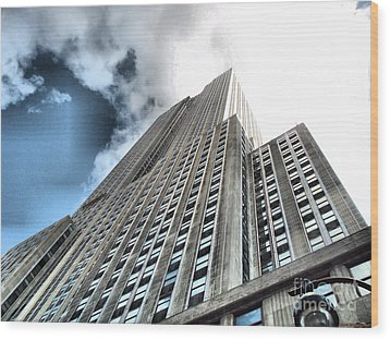 Empire State Building - Vertigo In Reverse Wood Print by Luther Fine Art