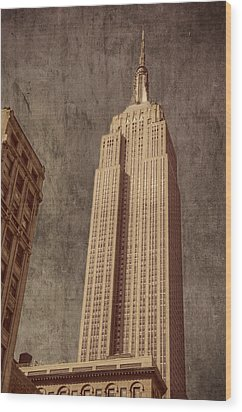 Wood Print featuring the photograph Empire State Building Vintage by Chris McKenna