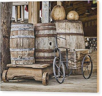 Emptied Barrels Wood Print