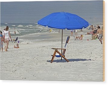 Wood Print featuring the photograph Empty Beach Chair by Charles Beeler