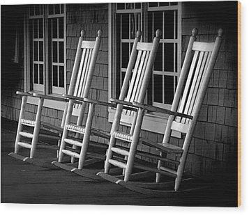 .empty Chairs. Wood Print by Lynn E Harvey