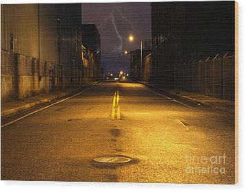Empty City Street At Night With Lighting Strike Wood Print by Denis Tangney Jr