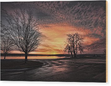 Empty Lot Sunset Wood Print