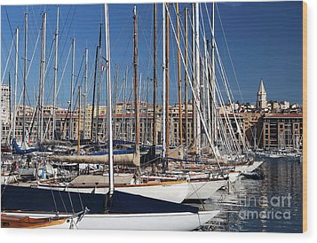 Empty Masts In Vieux Port Wood Print by John Rizzuto