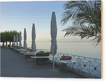 Empty Promenade In The Morning Meersburg Lake Constance Wood Print by Matthias Hauser