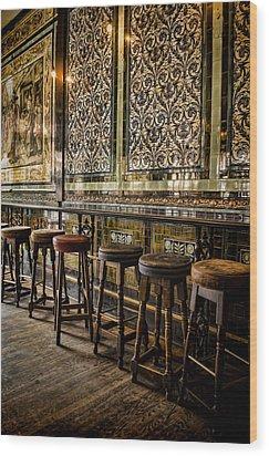 Empty Pub Wood Print by Heather Applegate