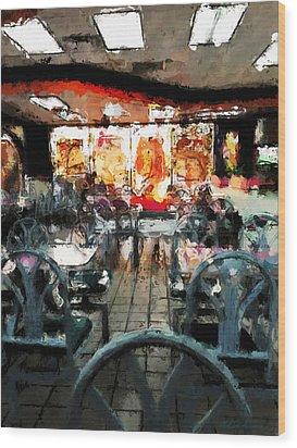 Empty Restaurant Wood Print by Robert Smith