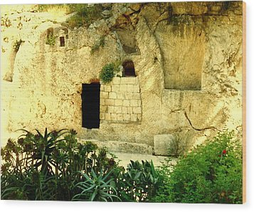 Empty Tomb Of Jesus Wood Print by Lou Ann Bagnall
