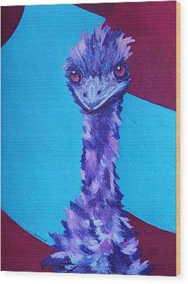 Wood Print featuring the painting Emu Eyes by Margaret Saheed