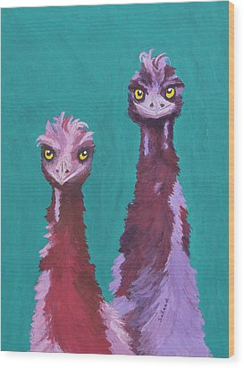 Wood Print featuring the painting Emu Watch by Margaret Saheed