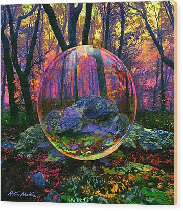 Wood Print featuring the painting Enchanted Forest by Robin Moline