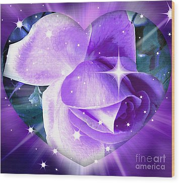 Enchanted Rose Wood Print by Judy Palkimas