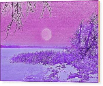Rosy Hued Moonlit Lake - Boulder County Colorado Wood Print by Joel Bruce Wallach