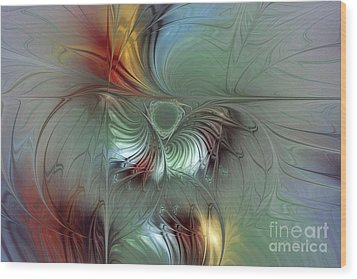 Enchanting Flower Bloom-abstract Fractal Art Wood Print by Karin Kuhlmann