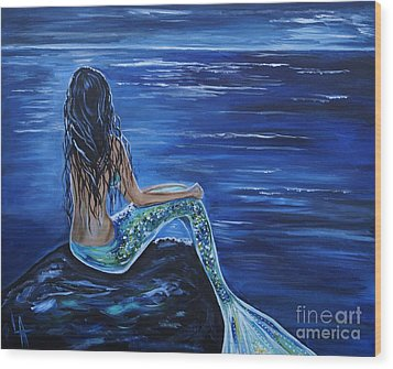 Enchanting Mermaid Wood Print by Leslie Allen