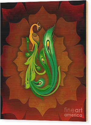 Enchanting Peacock 1 Wood Print by Peter Awax