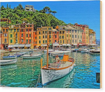Enchanting Portofino In Ligure Italy V Wood Print by M Bleichner