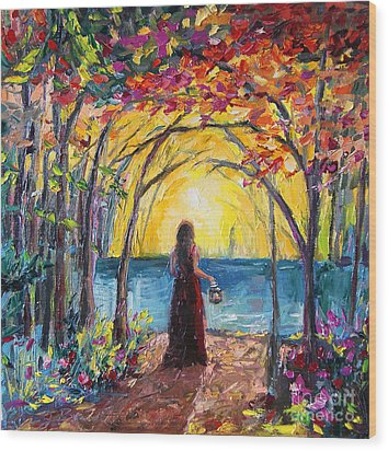 Wood Print featuring the painting Enchanted by Jennifer Beaudet