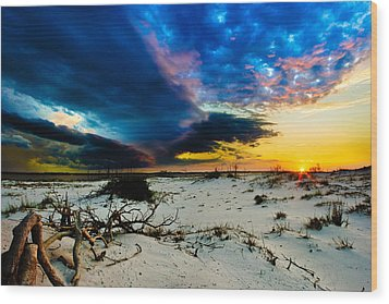 Wood Print featuring the photograph Encroaching Storm Landscape-blue Clouds Sunset Beach by Eszra