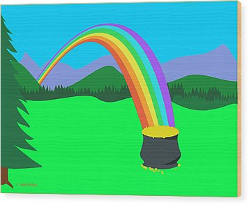 End Of Rainbow Pot Of Gold Wood Print
