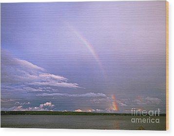 End Of The Rainbow Sebago Lake Maine Wood Print