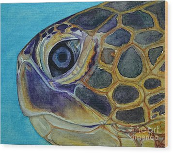 Wood Print featuring the painting Eye Of The Honu by Suzette Kallen