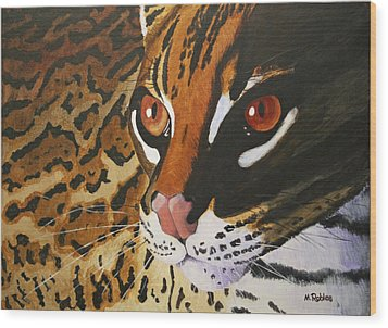 Endangered - Ocelot Wood Print by Mike Robles