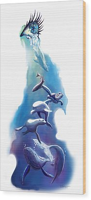 endangered sea life Water colour giclee print with eye and sea mammals Ocean Tears Wood Print