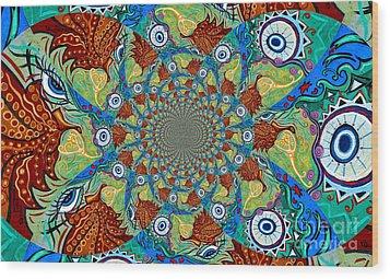 Energy Sprite Kaleidosope Wood Print by Genevieve Esson