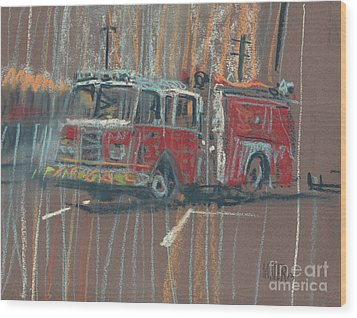 Wood Print featuring the painting Engine 56 by Donald Maier