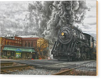 Engine 734 On The Western Maryland Scenic Railroad  Wood Print by Jeannette Hunt