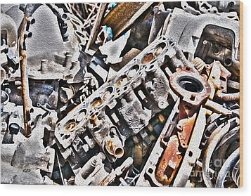 Engine For Parts - Automotive Recycling Wood Print by Crystal Harman