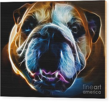 English Bulldog - Electric Wood Print by Wingsdomain Art and Photography