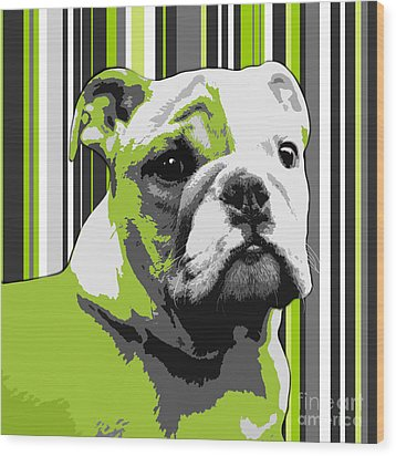 English Bulldog Puppy Abstract Wood Print by Natalie Kinnear