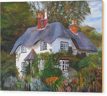 Wood Print featuring the painting English Cottage by LaVonne Hand