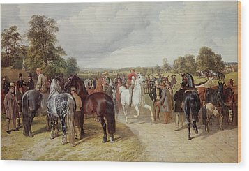 English Horse Fair On Southborough Common Wood Print by John Frederick Herring Snr