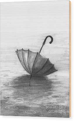 Wood Print featuring the drawing Enjoy The Raindrops by J Ferwerda