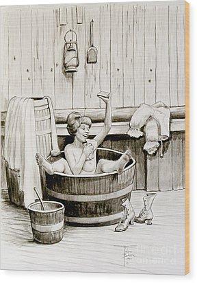 Bawdy Lady Bath - 1890's Wood Print