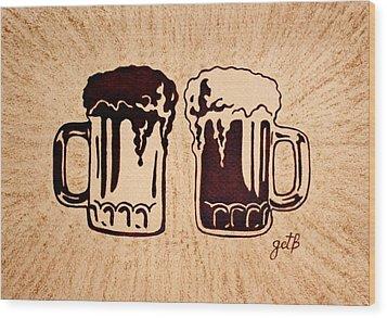 Enjoying Beer Wood Print by Georgeta  Blanaru