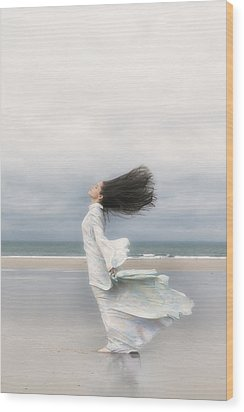 Enjoying The Wind Wood Print by Joana Kruse