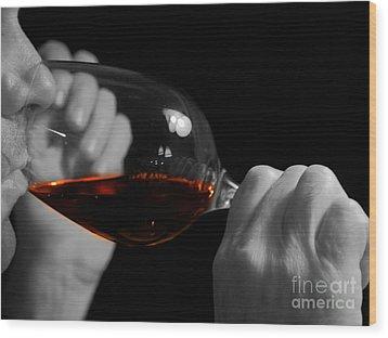 Enjoying Wine Wood Print by Patricia Hofmeester