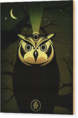 Enlightened Owl Wood Print by Milton Thompson