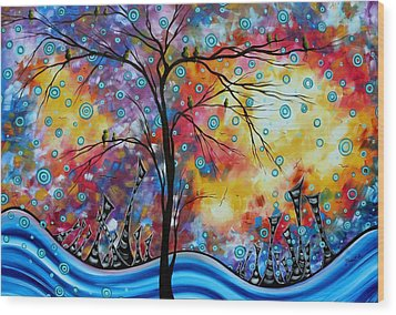 Enormous Whimsical Cityscape Tree Bird Painting Original Landscape Art Worlds Away By Madart Wood Print by Megan Duncanson